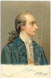 Johann Wolfgang von Goethe, Postkarte nach einem Gemälde von Georg Oswald May, 1779 (Quelle: Wikimedia)