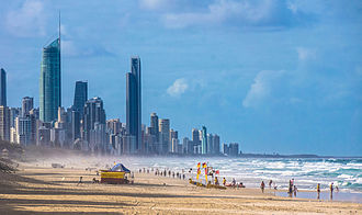 Beach - Recreational beaches, such as this one on the Gold Coast of Australia, can be shaped and maintained by beach nourishment projects.