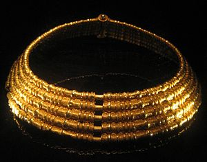 Swedish History Museum - Golden necklace from Färjestaden, one of the objects in the Gold Room