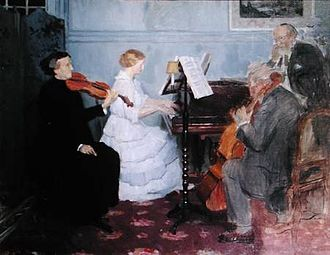 Home music-making in the 19th century; painting by Jules-Alexandre Grun. Grun - Chamber Music Concert.jpg