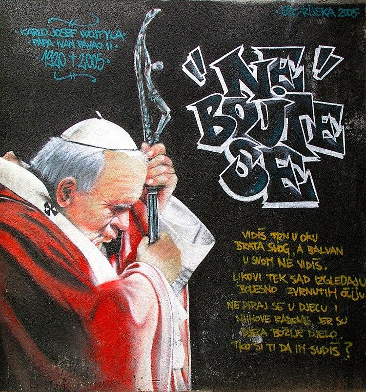 Ivan Pavao II., grafiti u Rijeci (Mrtvi kanal)