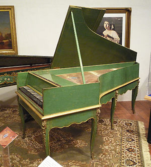 National Music Museum - Grand piano by Louis Bas of Villeneuve-lès-Avignon, France, 1781. Earliest French grand piano known to survive; includes an inverted wrestplank and action derived from the work of Bartolomeo Cristofiori (ca. 1700) with ornately decorated soundboard.