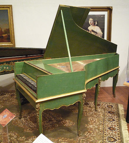 Grand piano by Louis Bas of Villeneuve-les-Avignon, 1781. Earliest French grand piano known to survive; includes an inverted wrestplank and action derived from the work of Bartolomeo Cristofori (ca. 1700) with ornately decorated soundboard. Grand Piano 1781 France - Louis Bas.jpg