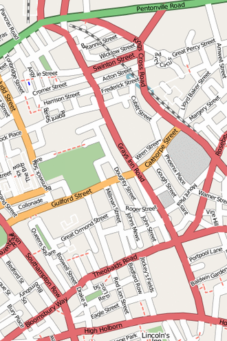 Gray's Inn Road - A map of Gray's Inn Road