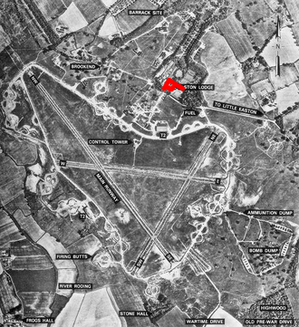 Easton Lodge - 10,000 trees were destroyed at Easton Lodge to build RAF Great Dunmow. The location of the house, now largely demolished, is shown in red
