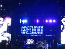 Green Day in concert at Gillette Stadium in Foxborough, Massachusetts.