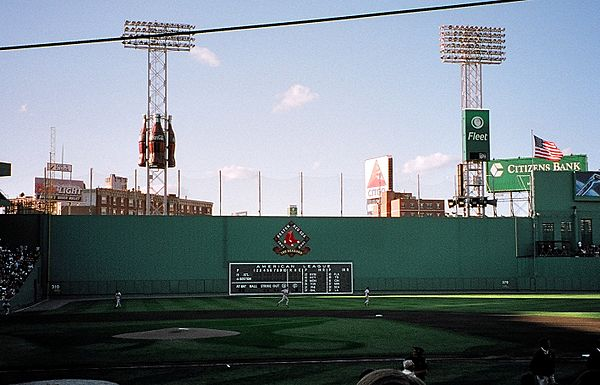 The Red Sox hosting a home game against the Atlanta Braves in July 2001 Green Monster 2001.jpg