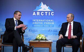 Iceland–Russia relations - Image: Guðni Th. Jóhannesson and Vladimir Putin (2017 03 30) 01