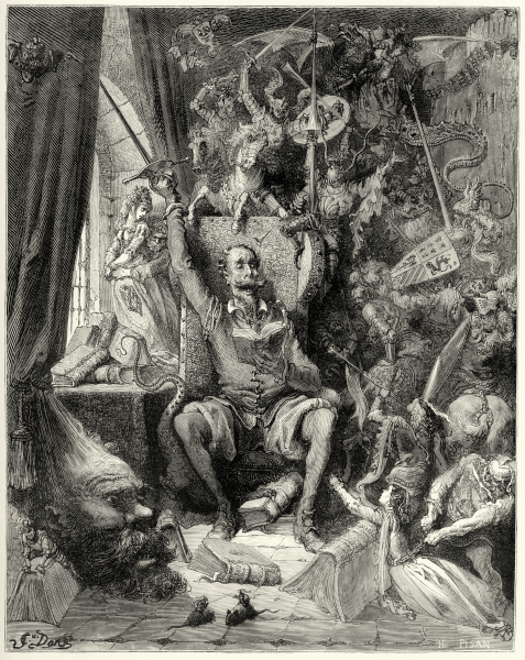 "File:Gustave Doré - Miguel de Cervantes - Don Quixote - Part 1 - Chapter 1 - Plate 1 ""A world of disorderly notions, picked out of his books, crowded into his imagination"".png"