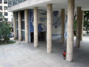 Gustavo Capanema Palace - Pilotis (pillars) and modernist azulejo mural, south view of main entrance.