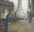 Håndkolorert dias. 7 gutter leker i en bakgård i 1904. Luene deres ligger på rekke ved veggen, 6 av guttene ser på disse, mens en gutt med ransel står klar til å kaste. (9459036790).jpg