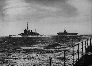 Force H - HMS Renown and HMS Ark Royal operating at sea in Force H. Photo taken from HMS Sheffield.