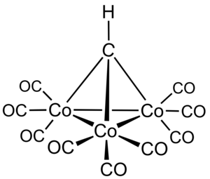 Methylidyne radical - Methylidynetricobaltnonacarbonyl is an example of a metal cluster containing a methylidyne ligand.