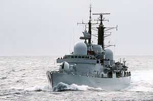 Battle of Misrata - HMS Liverpool, a Type 42 destroyer of the Royal Navy that attacked Pro-Gaddafi forces at sea and on land during the Battle of Misrata