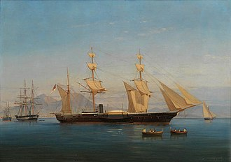 HMS Magicienne (1849) - Image: HMS Majicienne in the Bay of Naples 1886