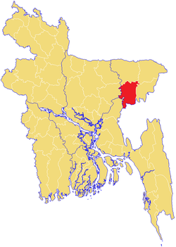 Location of Habiganj  হবিগঞ্জ