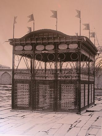 Tomb of Hafez - A photo of iron transenna, once in place around Hafez's tomb