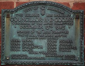Birmingham Baths Committee - Plaque on Harborne Baths, showing membership of the Committee as at December 1923.