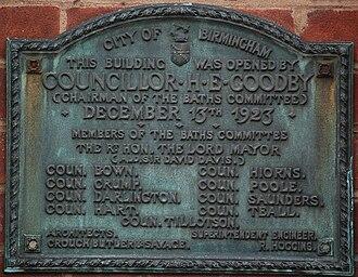 Birmingham Baths Committee - Plaque on Harborne Baths, showing membership of the Committee as at December 1923.