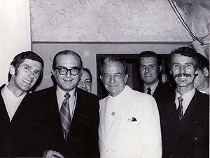 "Harry James - From left: Stan ""Cuddles"" Johnson, Fraser MacPherson, Bob Smith, Harry James, Al Johnson, Stew Barnett. (The Cave Supper Club, May 1970)"