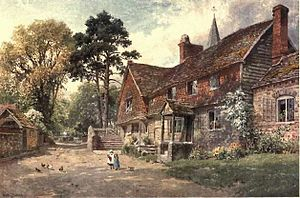 Witley - Painting by Harry Sutton Palmer of the end of Church Lane