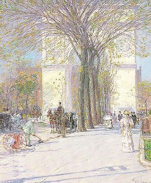 Childe Hassam - Washington Arch, in Washington Square Park, c. 1893