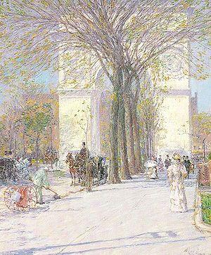 Childe Hassam - Washington Arch, in Washington Square Park, c. 1893