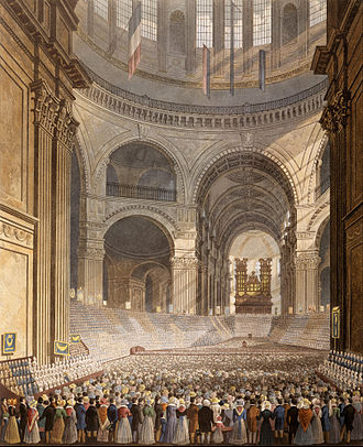 Charity school - The Anniversary Meeting of the Charity Children in the Cathedral of St. Paul, 1826