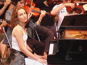 Hélène Grimaud - Grimaud at a rehearsal at La Roque-d'Anthéron Festival, 2004