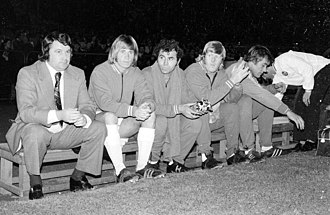 Johnny Byrne (footballer) - Manager Johnny 'Budgie' Byrne, and players on the bench of Hellenic FC of Cape Town, South Africa, early 1970s (Photo: Hilton Teper)
