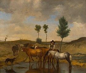 Landschap met paarden en koeien, bij een wed