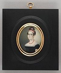 Portretminiatuur van een vrouw