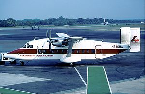 Baltimore–Washington International Airport - Henson Airlines Shorts 330 plane at BWI Airport in 1983.