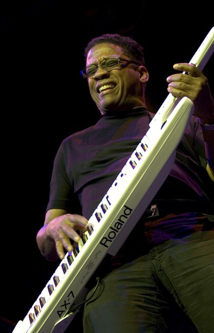 Hancock playing a Roland AX-7 keytar, at The Roundhouse, Camden, London, 2006 Herbie Hancock.jpg