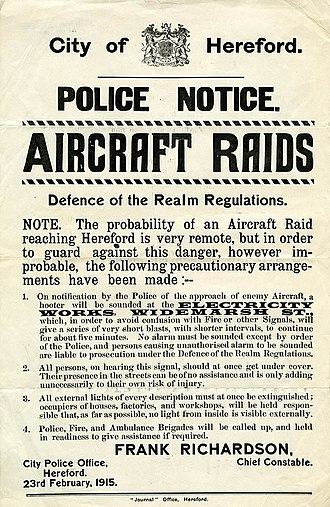 Strategic bombing during World War I - February 1915 poster warning of the possibility of air raids on the English city of Hereford