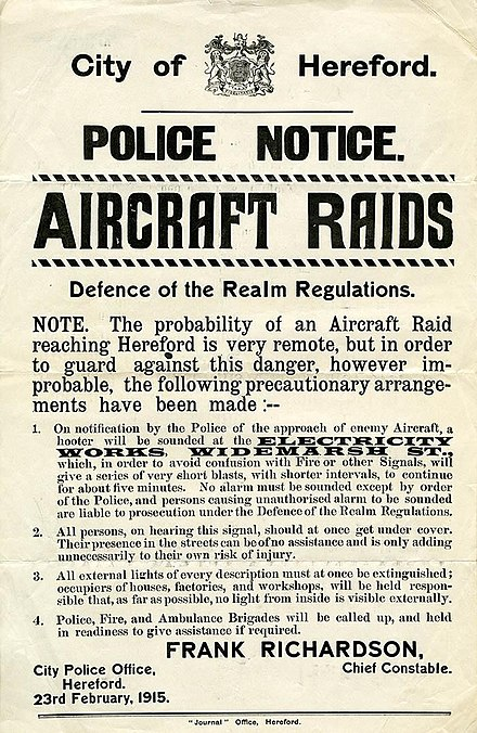 February 1915 poster warning of the possibility of air raids on the English city of Hereford