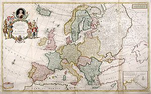 Early modern Europe - After the Peace of Westphalia in 1648, Europe's borders were largely stable. 1708 map by Herman Moll