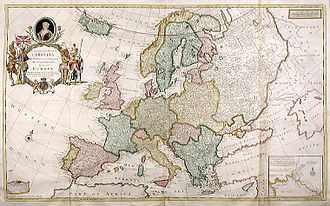 International relations, 1648–1814 - After the Peace of Westphalia in 1648, Europe's borders were largely stable. 1708 map by Herman Moll
