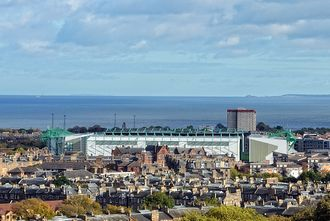 Hibernian F.C. - View of Easter Road with Leith in the distance
