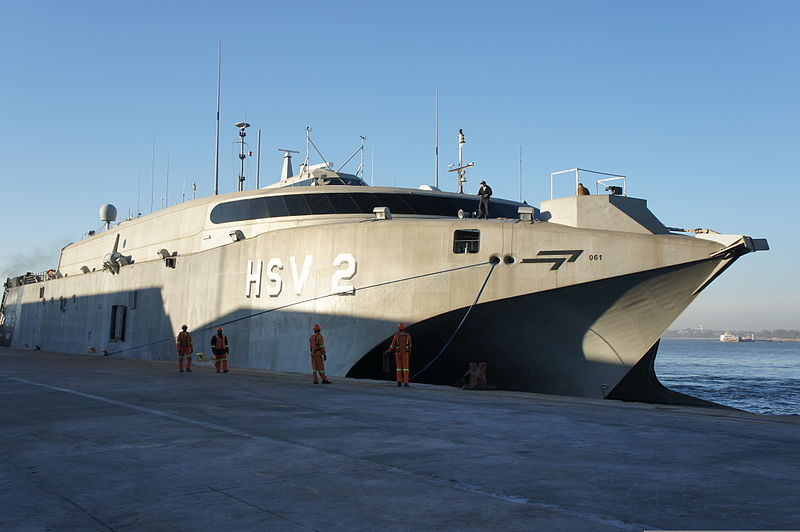 File:High speed vessel Swift (HSV-2) arrives in Port Maputo, Mozambique, June 8, 2012, for a seven-day port visit to support Africa Partnership Station (APS) East 2012 120608-N-JL721-009.jpg
