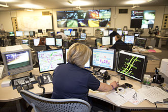 M25 motorway - A control room for the M25 J5-7 Smart Motorways scheme, 2014.
