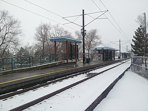 Historic Sandy (UTA station) - Snow-covered Historic Sandy as seen from the south
