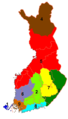 Historical provinces in Finland with numbers to Finnish alphabetical order.png