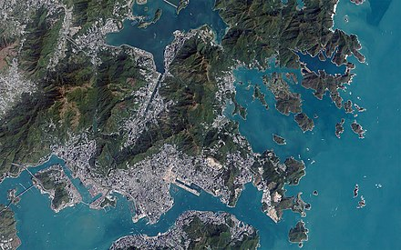 Areas of urban development and vegetation are visible in this satellite image. Hong Kong, China.jpg