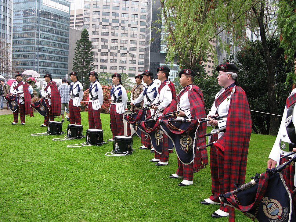 Hong Kong Police Pipe Band performance in Government House