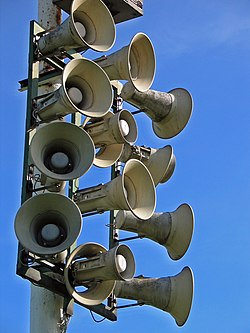 Horn loudspeakers are often used to broadcast sound to outdoor locations