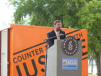 American Civil Liberties Union - Howard Simon, executive director of the Florida affiliate, joins in a protest of the Guantanamo Bay detentions with Amnesty International