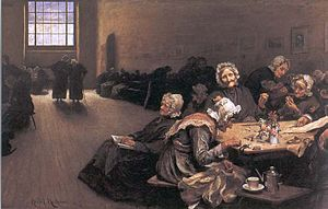 Nursing home care in the United Kingdom - Eventide: A Scene in the Westminster Union (workhouse), 1878, by Sir Hubert von Herkomer