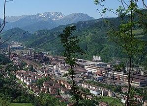 The iron and steel works of Donawitz near Leob...