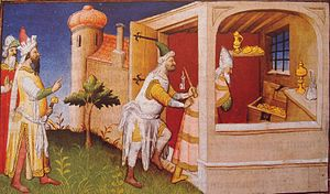 "Al-Musta'sim - Hulagu (left) imprisons Caliph Al-Musta'sim among his treasures to starve him to death. Medieval depiction from ""Le livre des merveilles"", 15th century."
